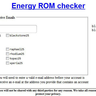[APP|web] Energy ROM checker(emailer)