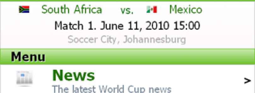 Follow the World Cup on your Winmo Device