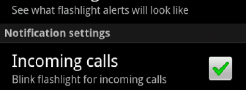Camera LED Alert on Incoming Call or SMS