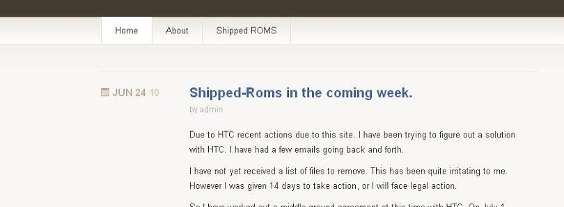 Update on HTC vs Shipped-Roms.com