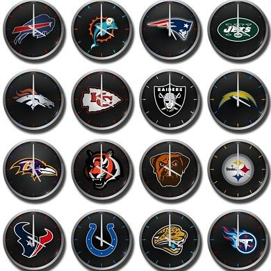 NFL AFC Inspired Analog Clocks Widget for Football Fans