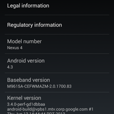 Android 4.3 Leaked for the Google Nexus 4