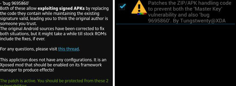 Xposed Patch for Master Key and Bug 9695860 Vulnerabilities