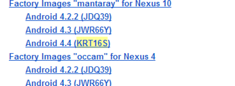 Google Pushes Android 4.4 KRT16S to the Nexus 4, 7 (All), 10