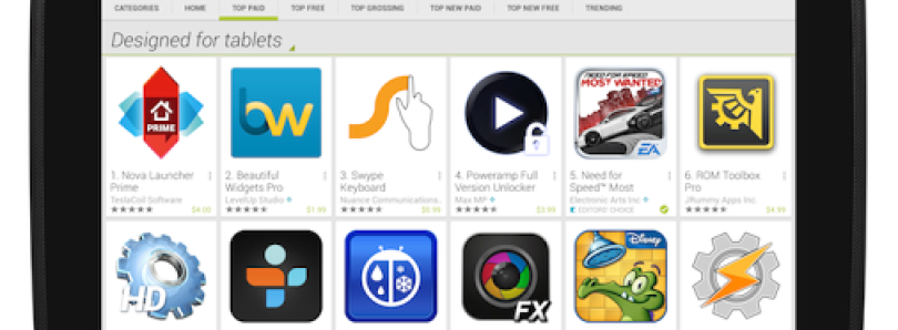 Google Play Update Places Tablet Apps Front and Center