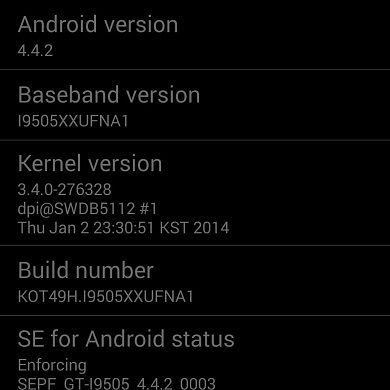 Leaked Android 4.4.2 XXUFNA1 Firmware for the Galaxy S 4