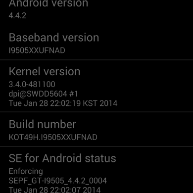 Android 4.4.2 XXUFNAD Test Build Leaked for the International Samsung Galaxy S 4 I9505!