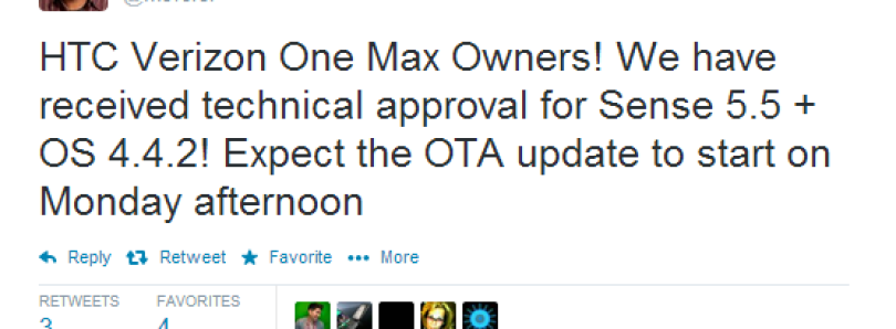 Verizon HTC One Max to Receive Android 4.4.2 + Sense 5.5 on Monday!