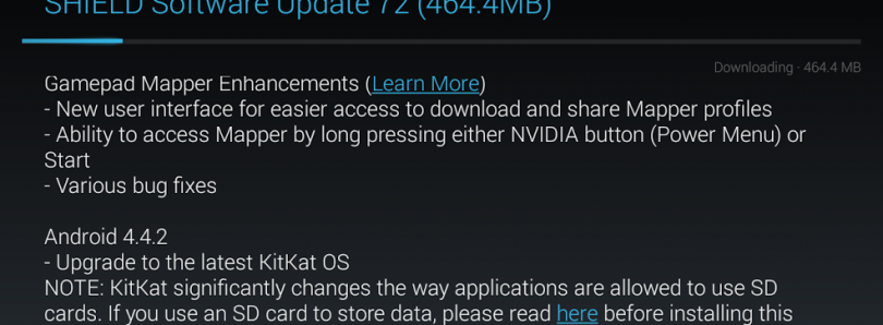 Nvidia Shield Receives Android 4.4.2 KitKat OTA, Brings Remote Game Stream Beta