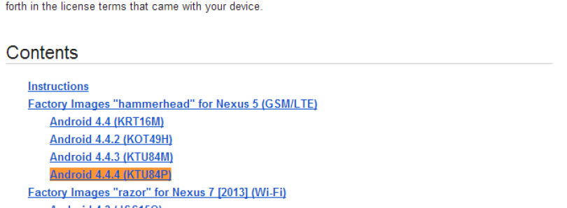 Android 4.4.4 KTU84P Factory Images and Driver Binaries Available for Nexus Devices, Source Code Now Live
