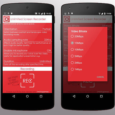 Unlimited Screen Recorder Captures Screencasts on Lollipop