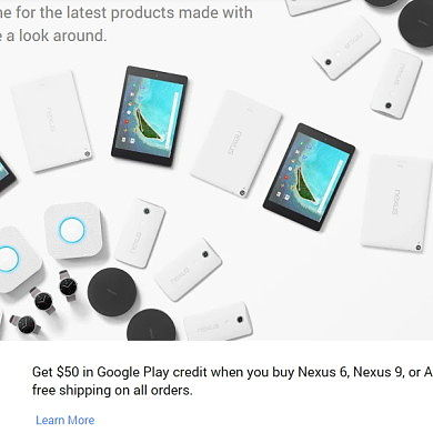 $50 Play Credit for Nexus 6, 9, or Wear Purchase