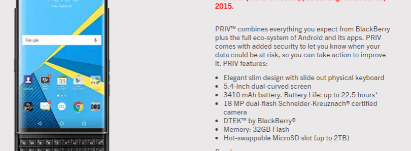 BlackBerry PRIV Release Date and Price is Revealed