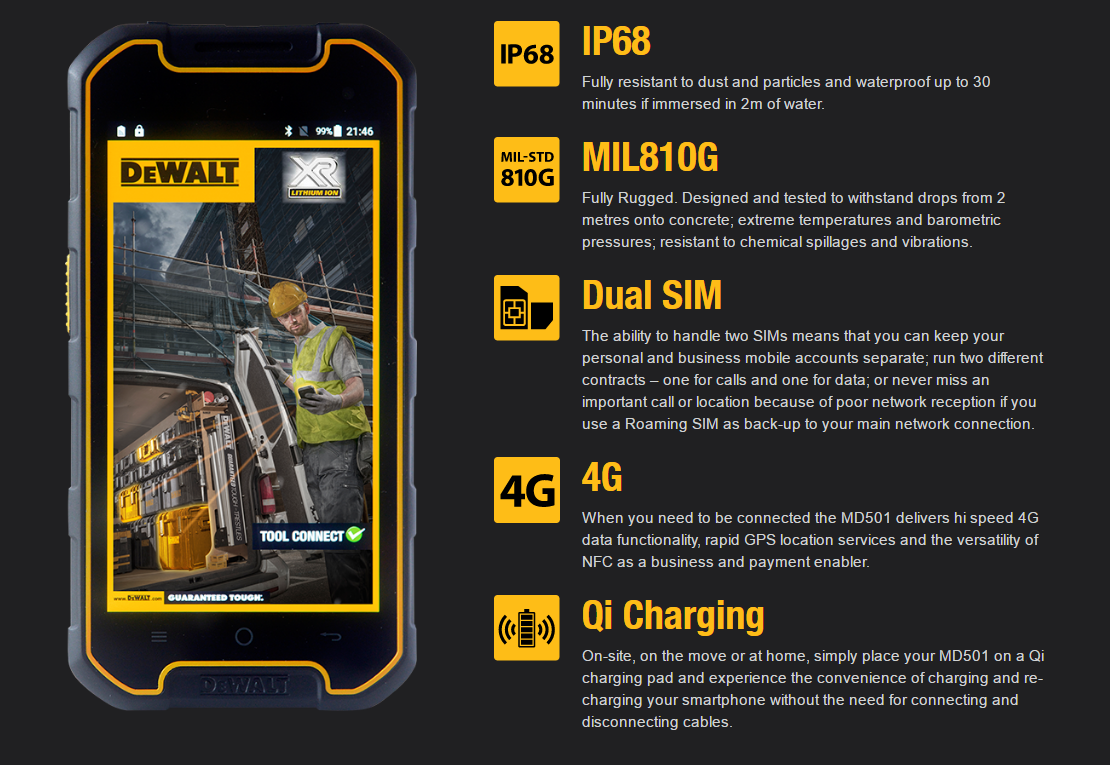 Dewalt Announces The Md501 Its Heavy Duty Smartphone