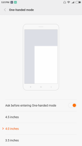 One-handed mode