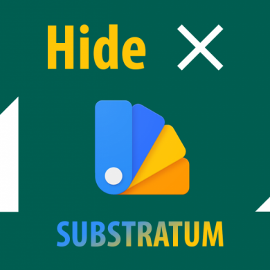 'Hide X' Substratum Theme Hides the Disabled Data and Roaming Icon in the Status Bar
