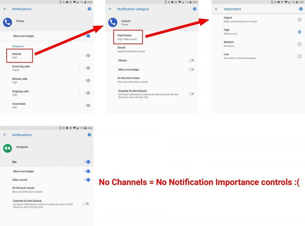 Missing Notification Importance Controls