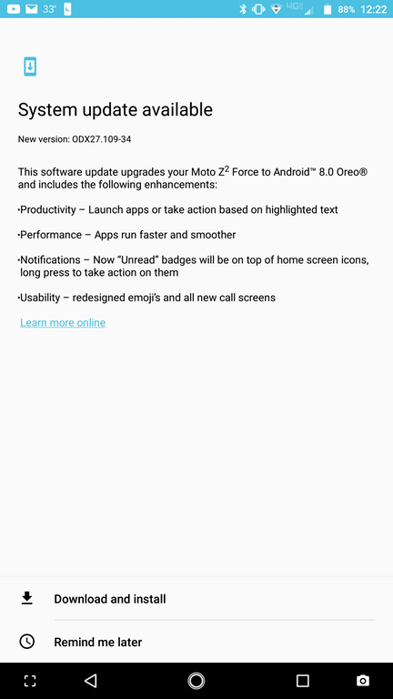 Moto Z2 Force Verizon Android Oreo Update