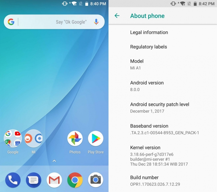 Xiaomi Mi A1 Android Oreo Update