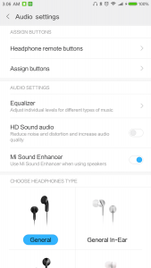 Xiaomi Mi Note 2 Audio Settings