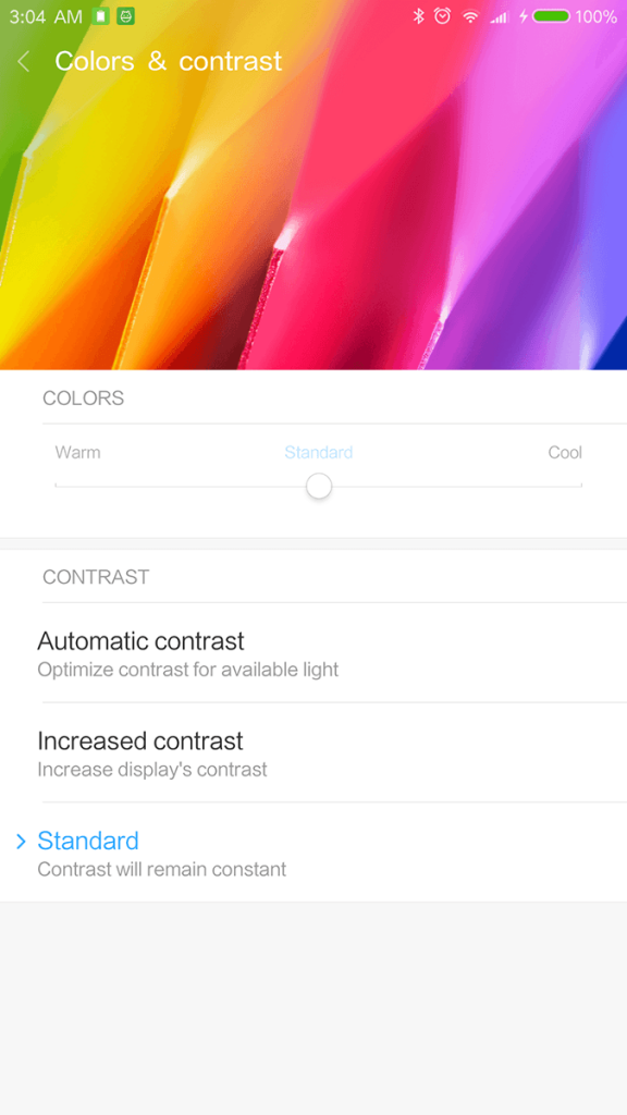 Xiaomi Mi Note 2 Display Colour Settings