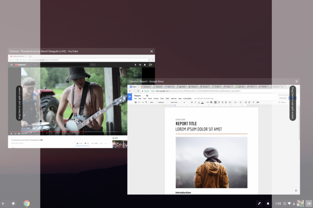 chrome os split screen