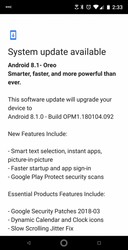Essential Phone Android 8.1 Oreo Update