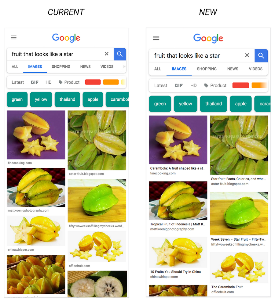 Get more useful information with captions on Google Images