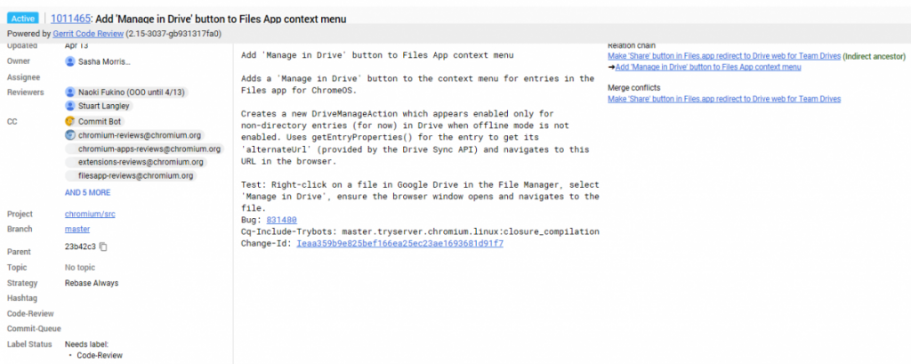 Google Drive Chrome OS Manage in Drive