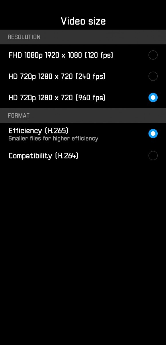 Huawei P20 Pro Camera App Slow Motion Video Recording Settings