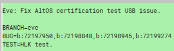 The commit mentions HLK and AltOS certification