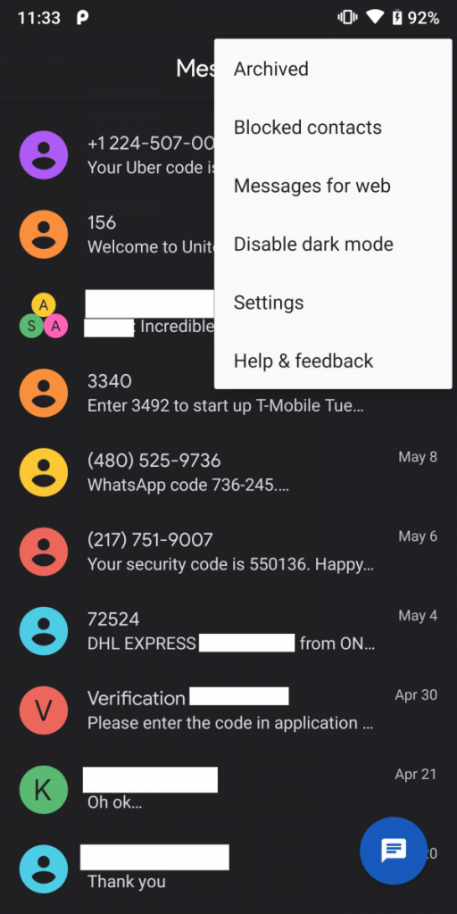 Android Messages Dark Theme Chromebook Integration