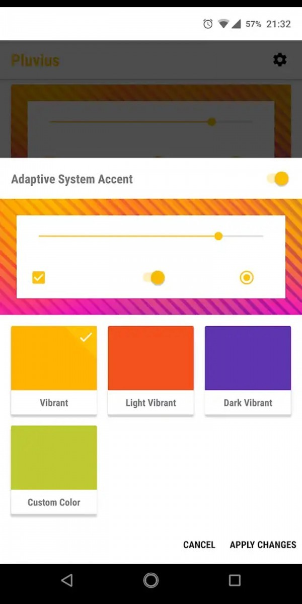 Pluvius themes system UI and accent color based on the