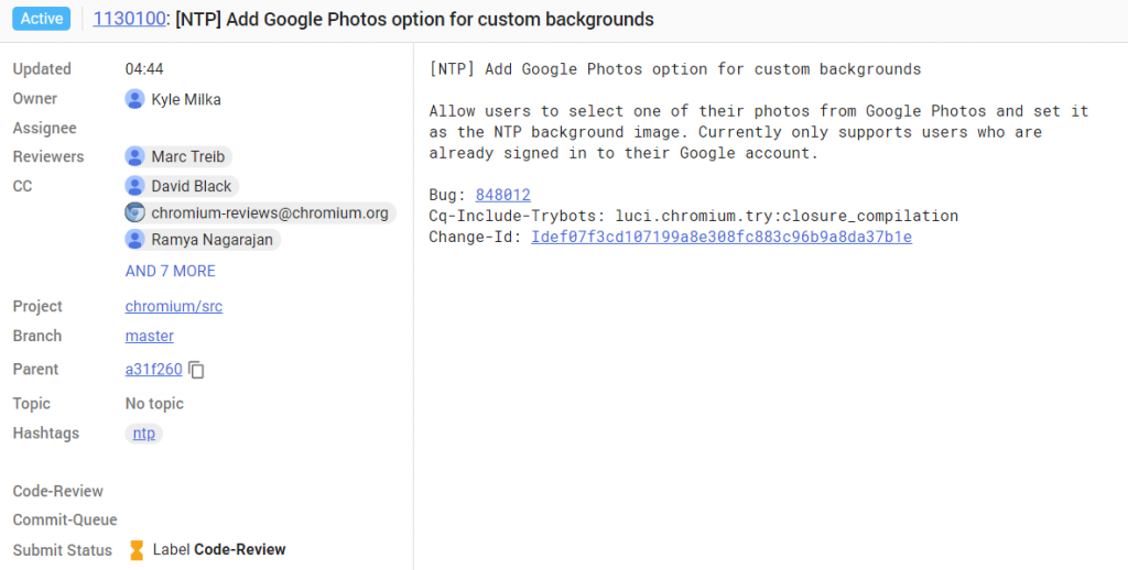 google chrome new tab page commit